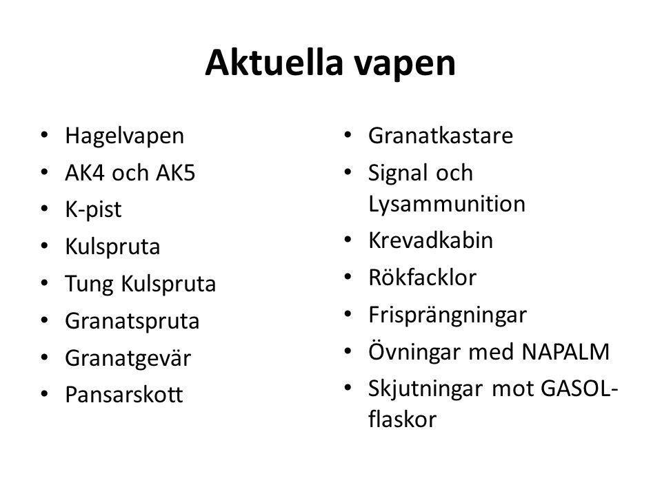Aktuella vapen Hagelvapen AK4 och AK5 K-pist Kulspruta Tung Kulspruta