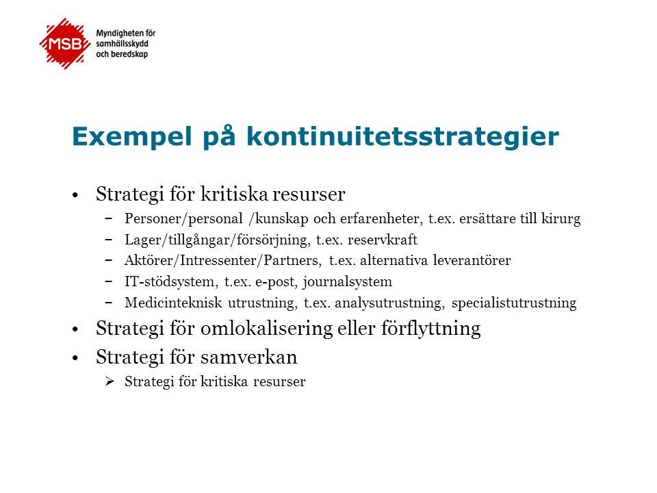 Exempel på kontinuitetsstrategier