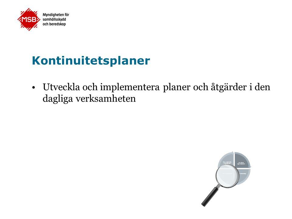 Kontinuitetsplaner Utveckla och implementera planer och åtgärder i den dagliga verksamheten.