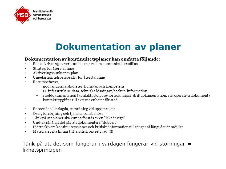 Dokumentation av planer