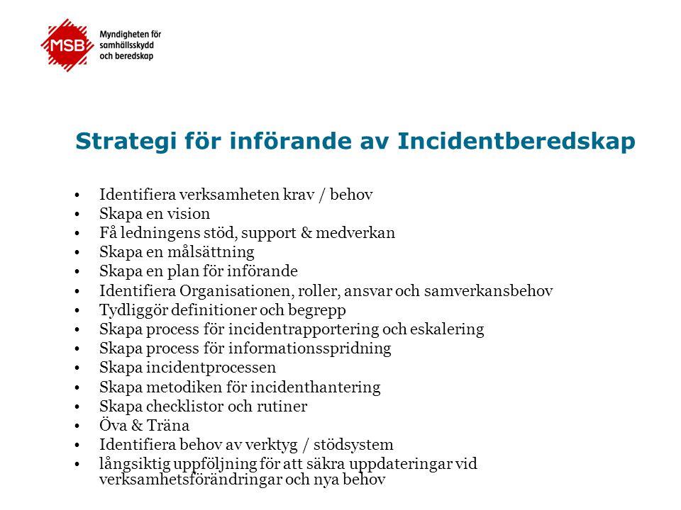 Strategi för införande av Incidentberedskap