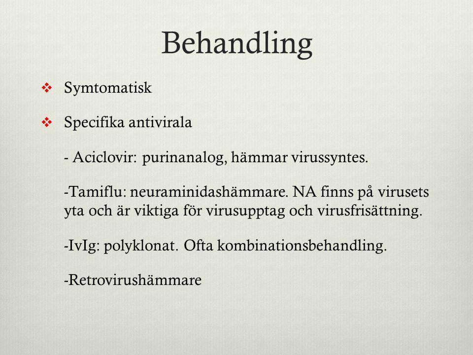 Behandling Symtomatisk Specifika antivirala