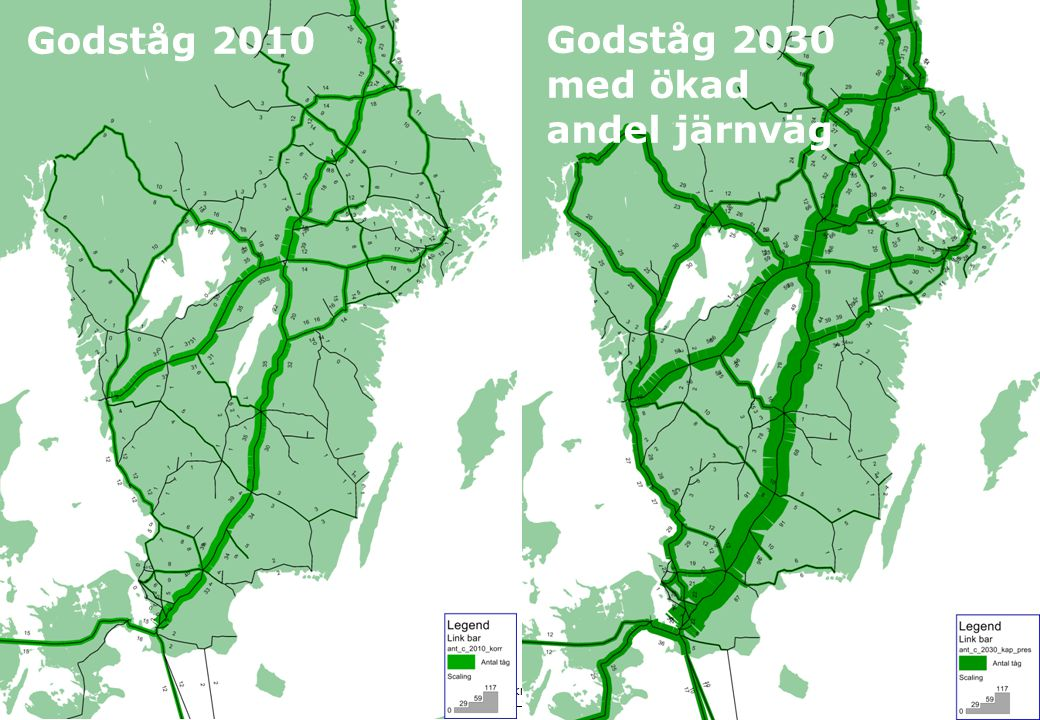 Godståg 2010 Godståg 2030 med ökad andel järnväg
