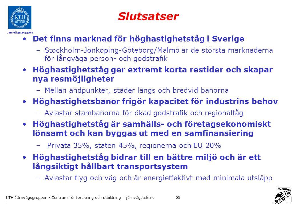 Slutsatser Det finns marknad för höghastighetståg i Sverige