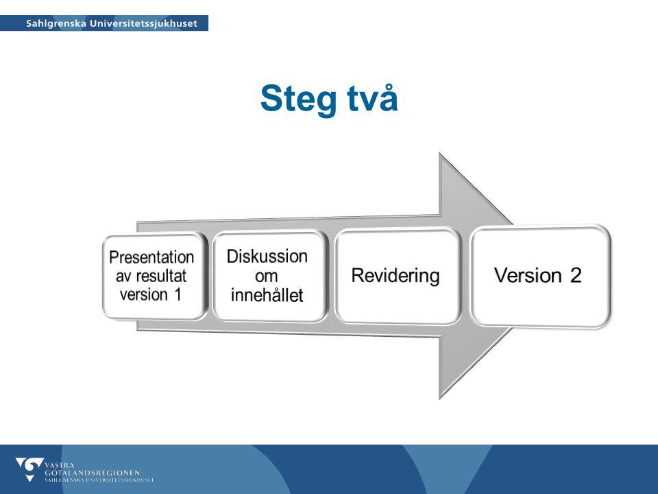 Steg två Presentation av resultat version 1 Diskussion om innehållet