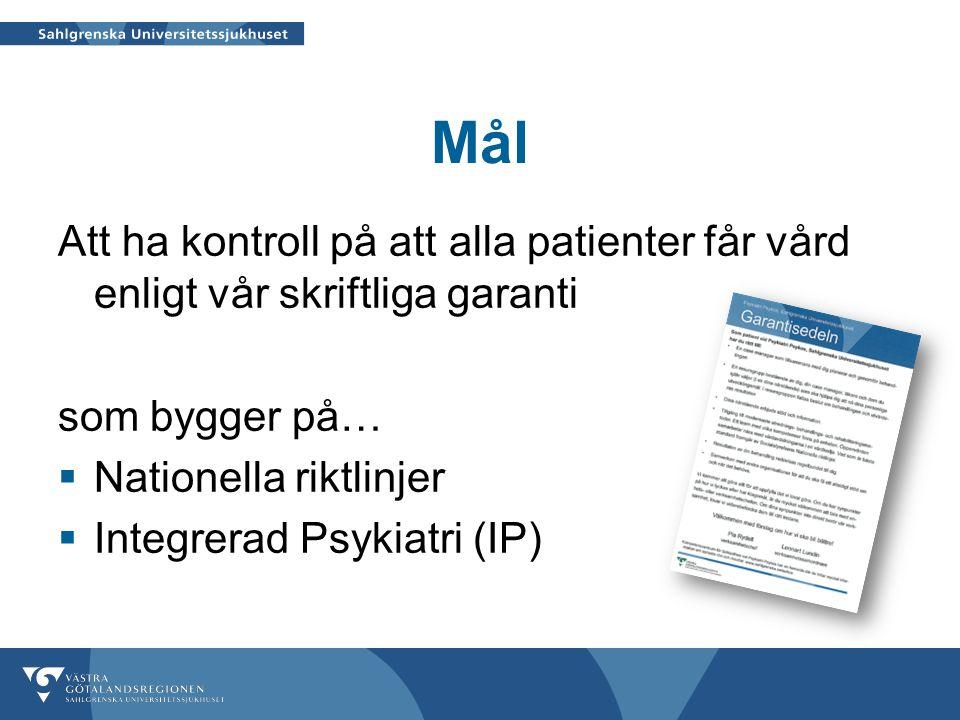 Mål Att ha kontroll på att alla patienter får vård enligt vår skriftliga garanti. som bygger på… Nationella riktlinjer.