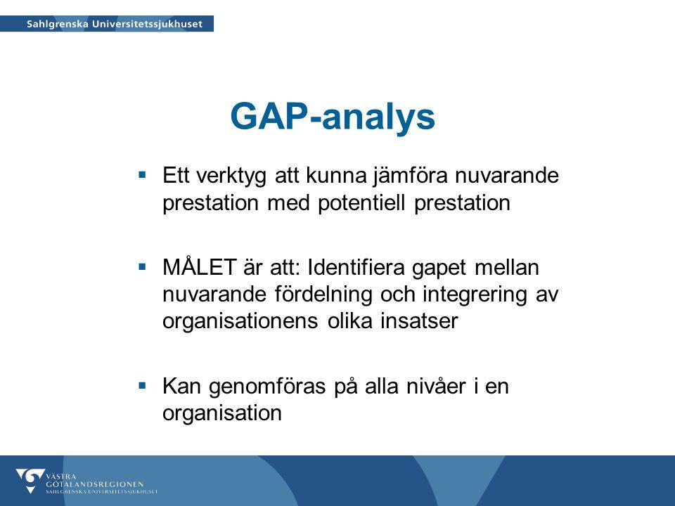 GAP-analys Ett verktyg att kunna jämföra nuvarande prestation med potentiell prestation.