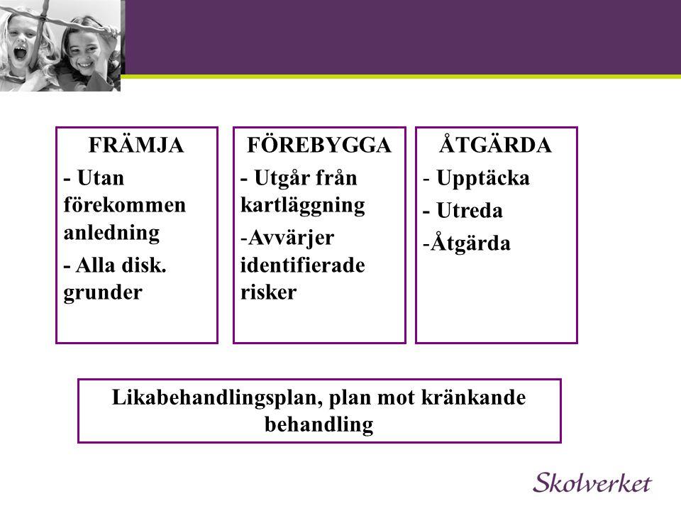 Likabehandlingsplan, plan mot kränkande behandling