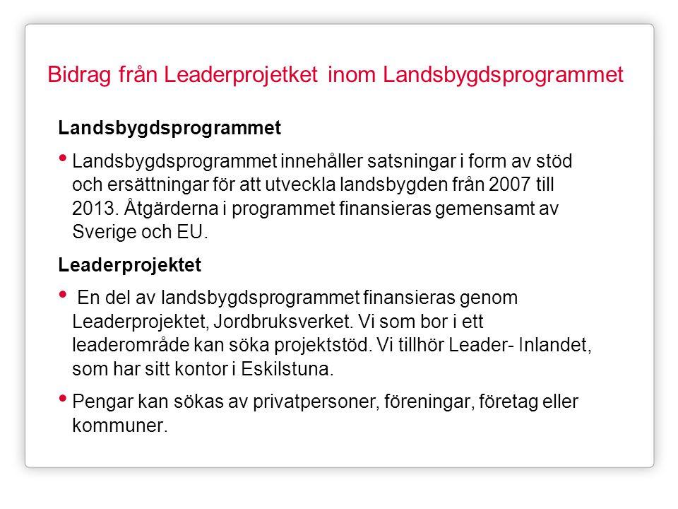 Bidrag från Leaderprojetket inom Landsbygdsprogrammet
