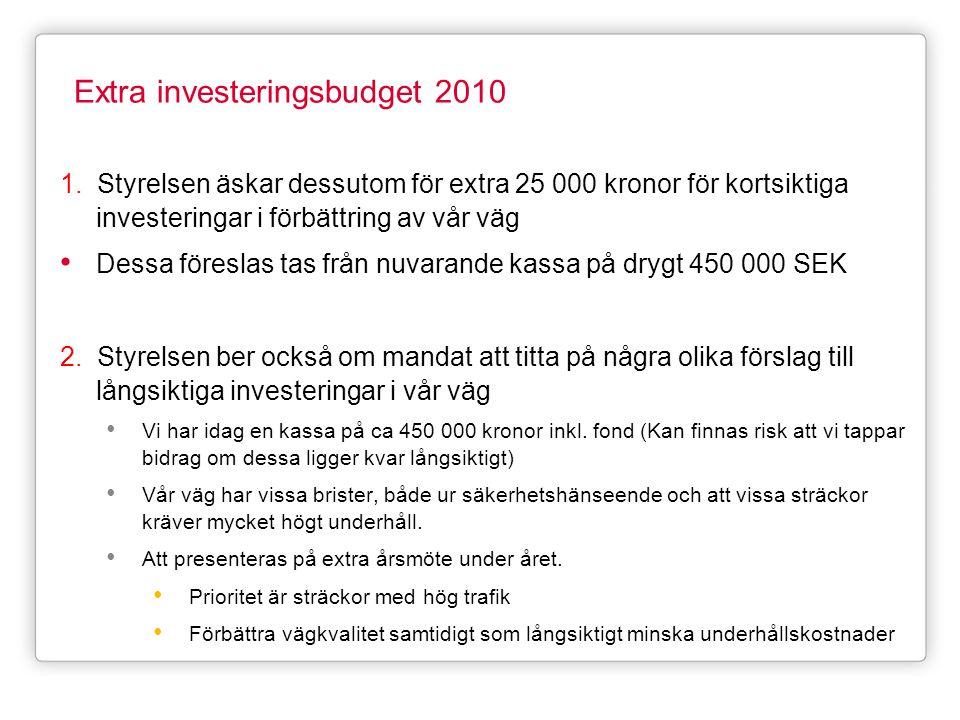 Extra investeringsbudget 2010