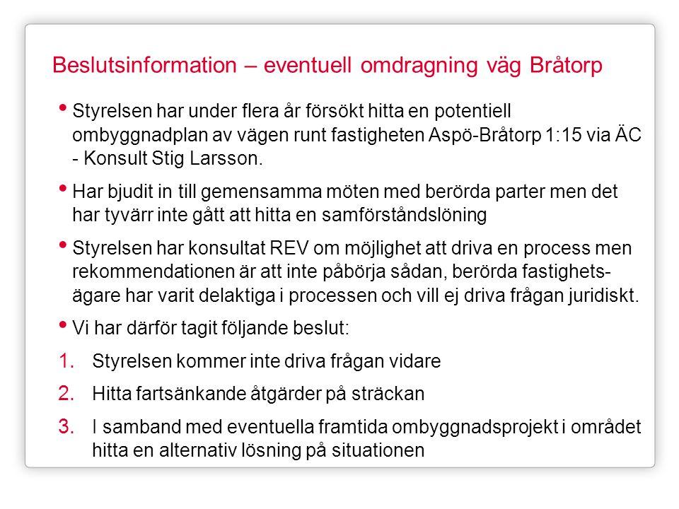 Beslutsinformation – eventuell omdragning väg Bråtorp