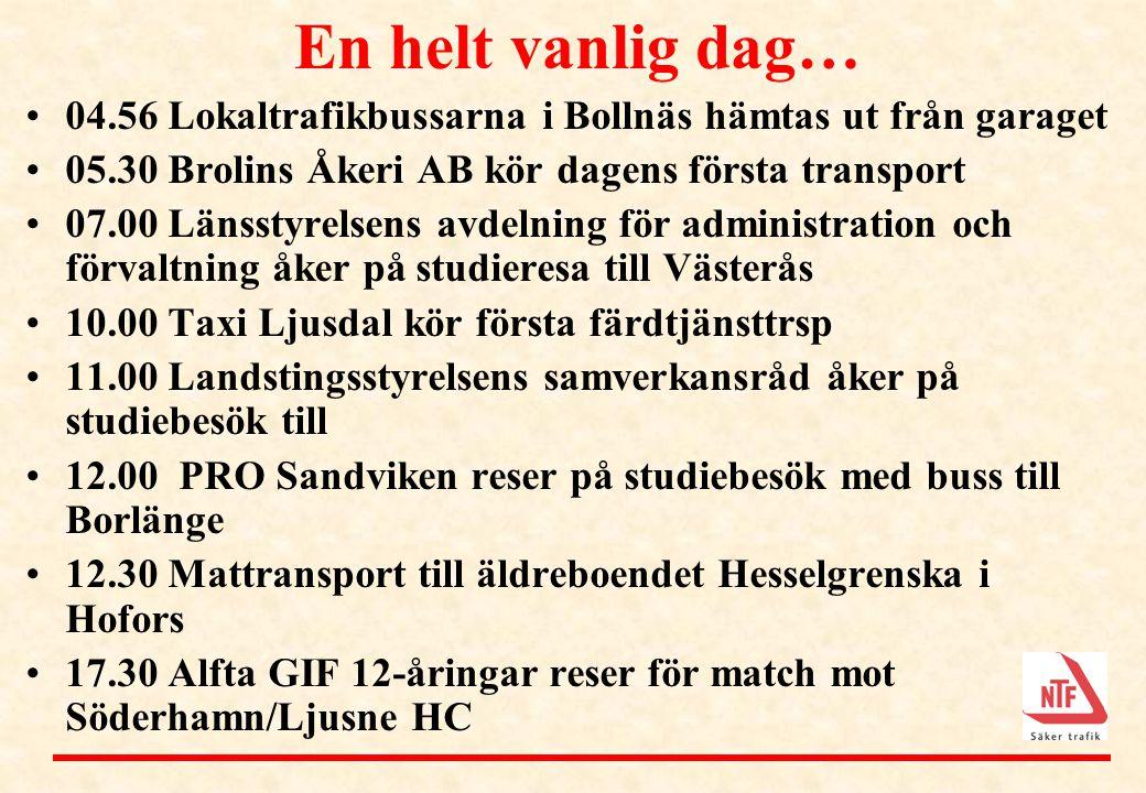 En helt vanlig dag… 04.56 Lokaltrafikbussarna i Bollnäs hämtas ut från garaget. 05.30 Brolins Åkeri AB kör dagens första transport.