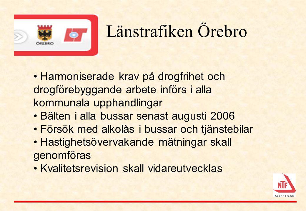 Länstrafiken Örebro Harmoniserade krav på drogfrihet och drogförebyggande arbete införs i alla kommunala upphandlingar.