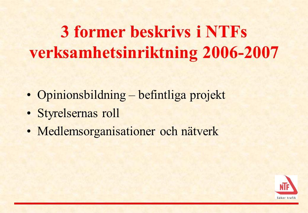 3 former beskrivs i NTFs verksamhetsinriktning 2006-2007