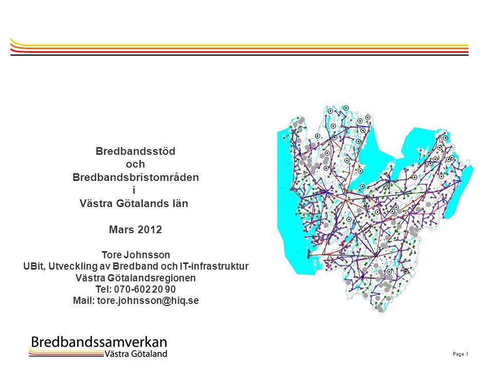 Bredbandsbristområden i Västra Götalands län Mars 2012