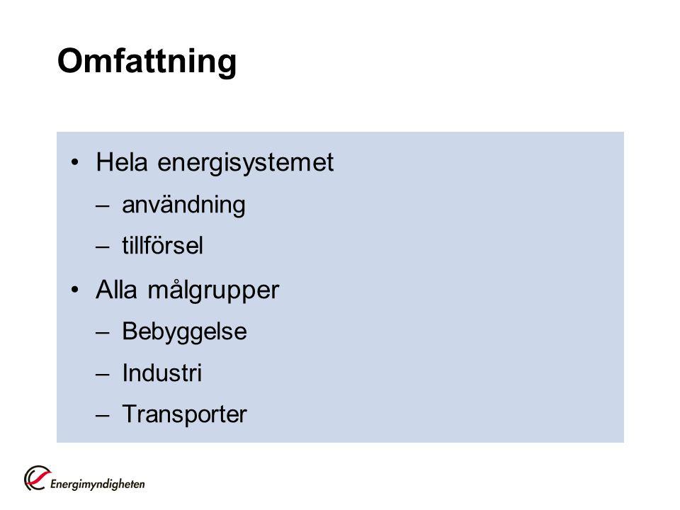 Omfattning Hela energisystemet Alla målgrupper användning tillförsel