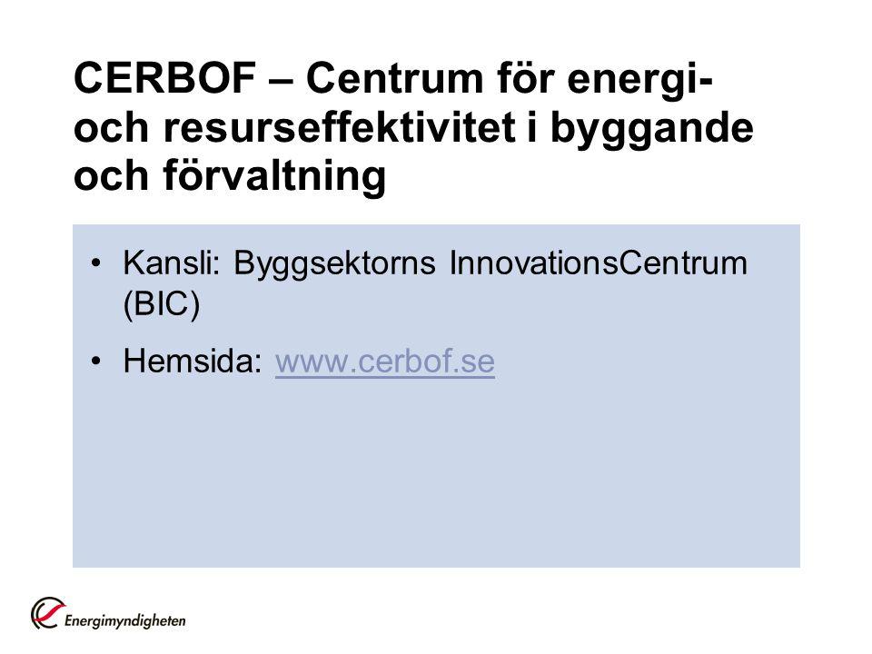 CERBOF – Centrum för energi- och resurseffektivitet i byggande och förvaltning