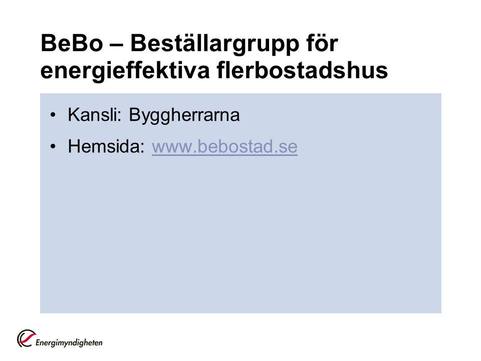 BeBo – Beställargrupp för energieffektiva flerbostadshus
