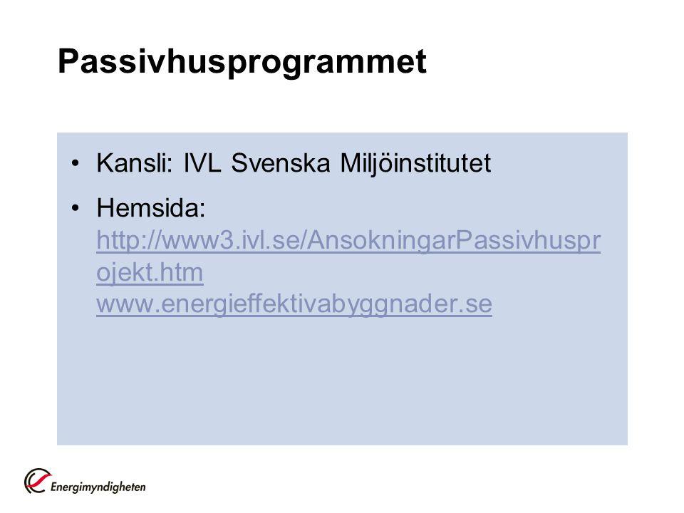 Passivhusprogrammet Kansli: IVL Svenska Miljöinstitutet