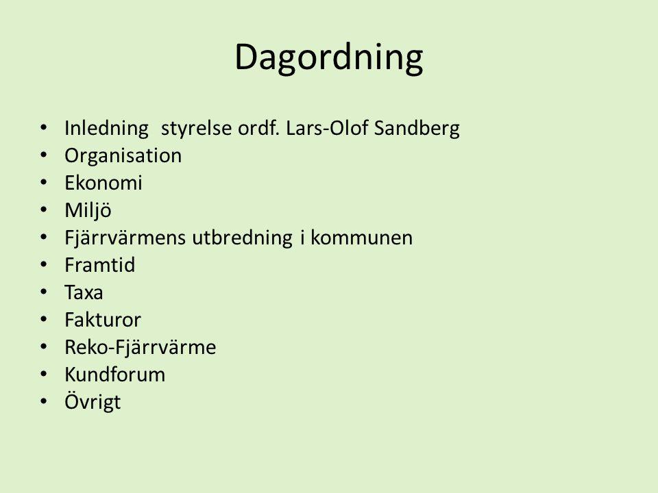 Dagordning Inledning styrelse ordf. Lars-Olof Sandberg Organisation
