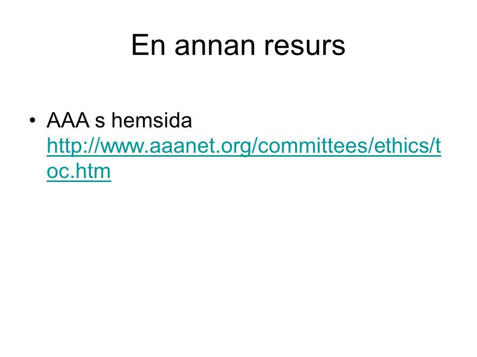 En annan resurs AAA s hemsida http://www.aaanet.org/committees/ethics/toc.htm