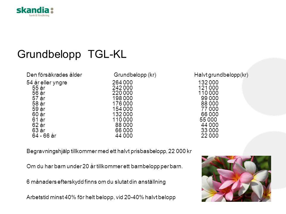 Grundbelopp TGL-KL Den försäkrades ålder Grundbelopp (kr) Halvt grundbelopp(kr)