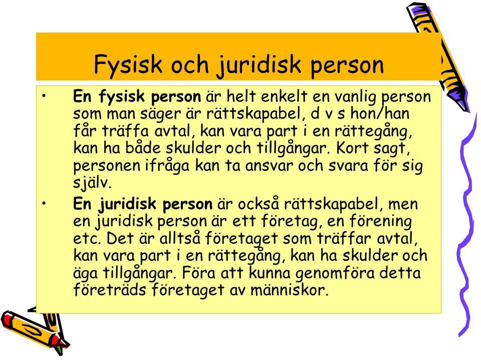Fysisk och juridisk person