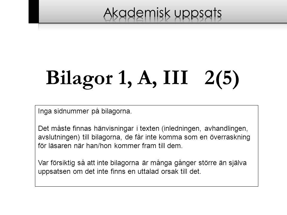 Bilagor 1, A, III 2(5) Akademisk uppsats Inga sidnummer på bilagorna.