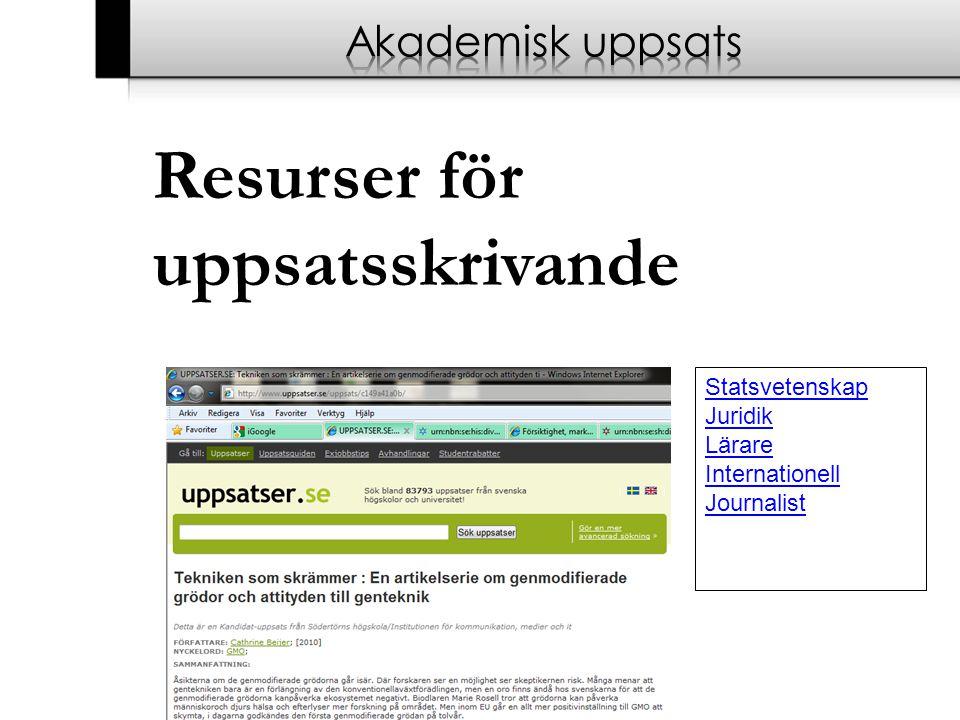 Resurser för uppsatsskrivande Akademisk uppsats Statsvetenskap Juridik