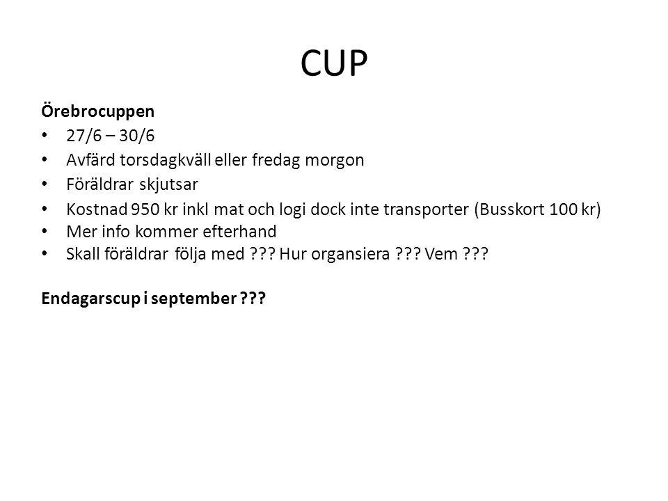 CUP Örebrocuppen 27/6 – 30/6 Avfärd torsdagkväll eller fredag morgon