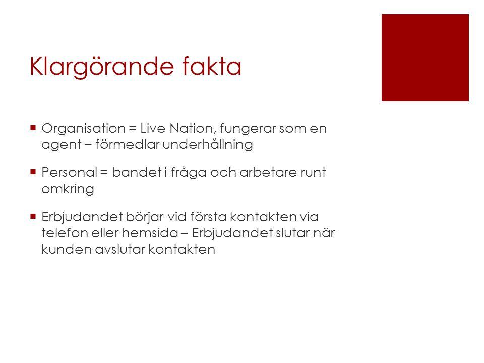 Klargörande fakta Organisation = Live Nation, fungerar som en agent – förmedlar underhållning. Personal = bandet i fråga och arbetare runt omkring.