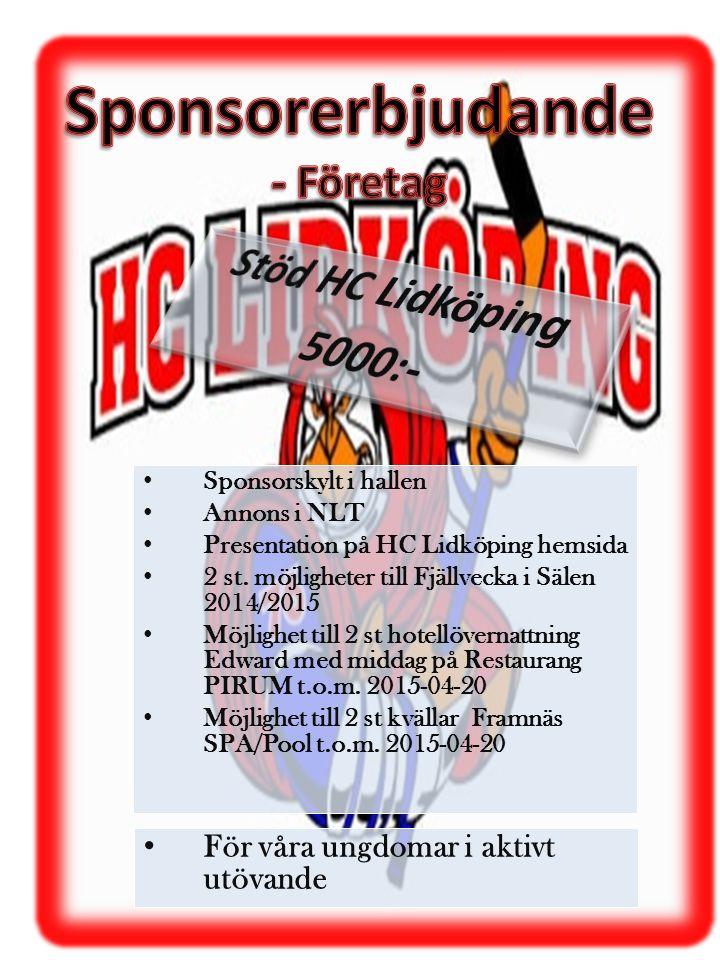 Sponsorerbjudande Stöd HC Lidköping 5000:- - Företag