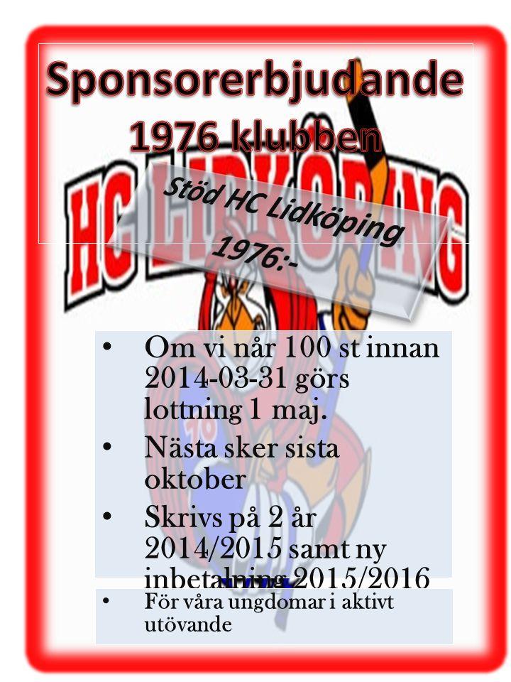 Sponsorerbjudande 1976 klubben Stöd HC Lidköping 1976:-