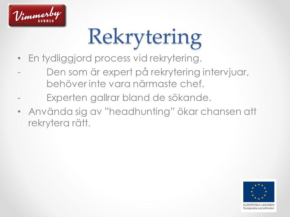 Rekrytering En tydliggjord process vid rekrytering.