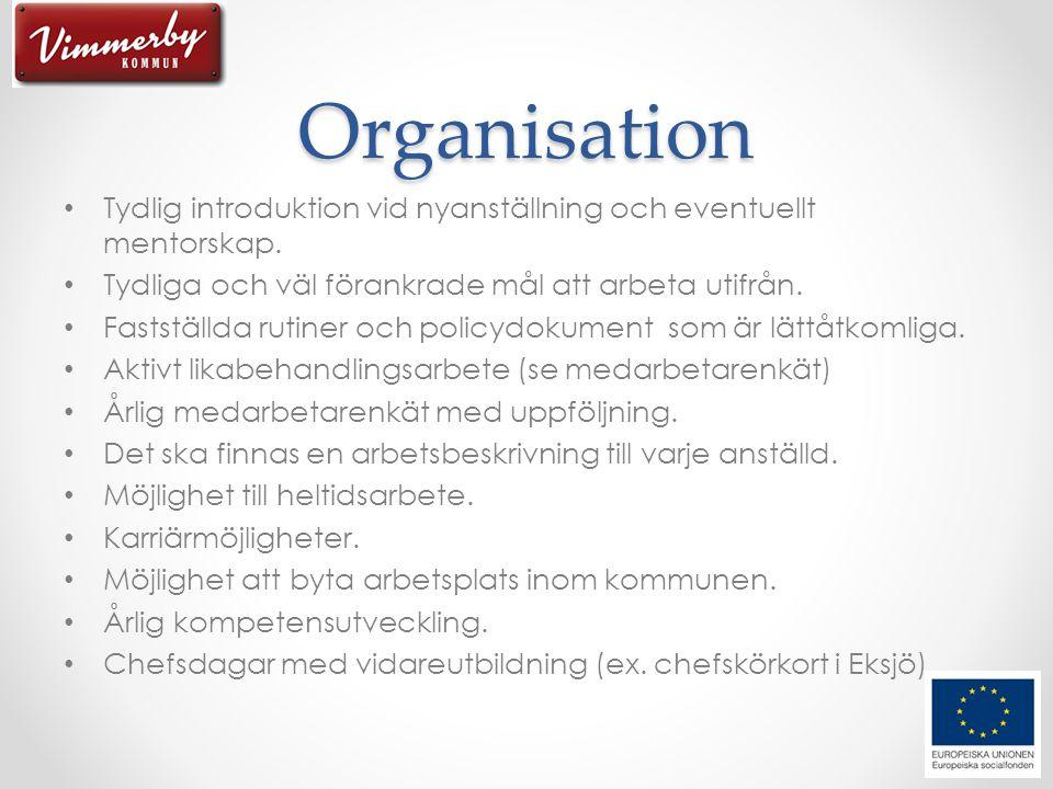 Organisation Tydlig introduktion vid nyanställning och eventuellt mentorskap. Tydliga och väl förankrade mål att arbeta utifrån.