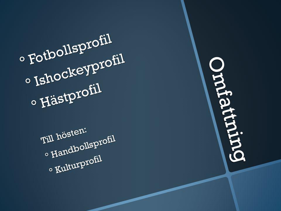 Omfattning ° Fotbollsprofil ° Ishockeyprofil ° Hästprofil Till hösten: