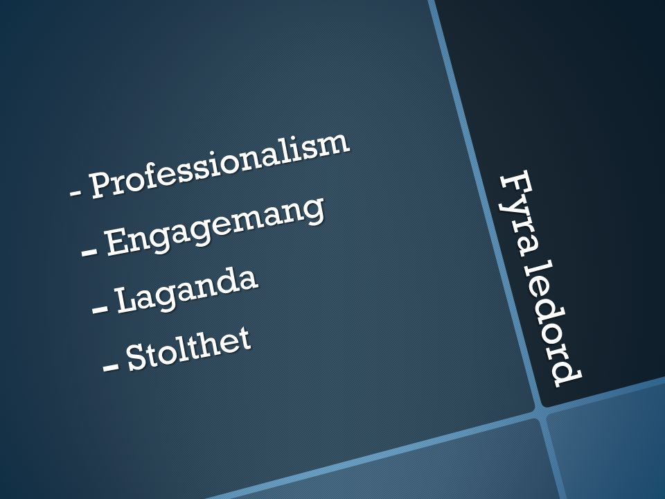 Fyra ledord - Professionalism Engagemang Laganda Stolthet