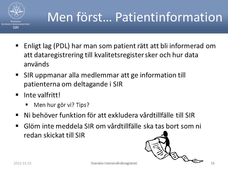 Men först… Patientinformation