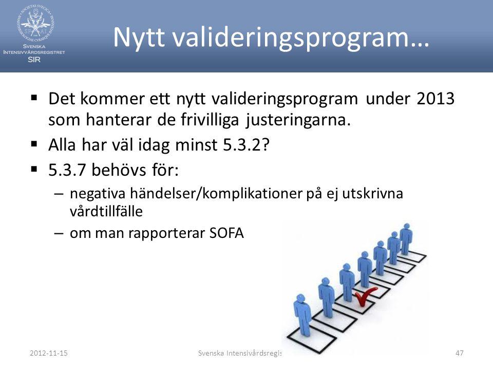 Nytt valideringsprogram…