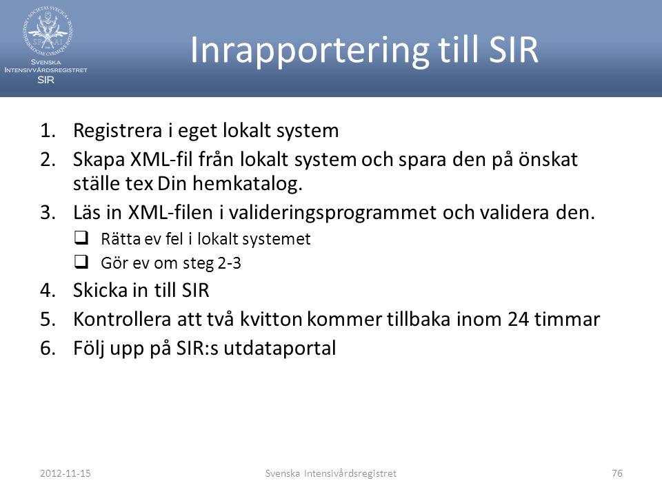 Inrapportering till SIR