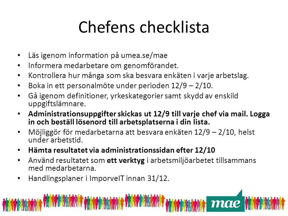 Chefens checklista Läs igenom information på umea.se/mae