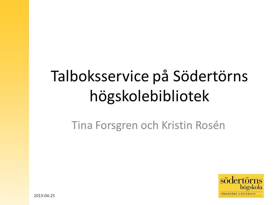 Talboksservice på Södertörns högskolebibliotek