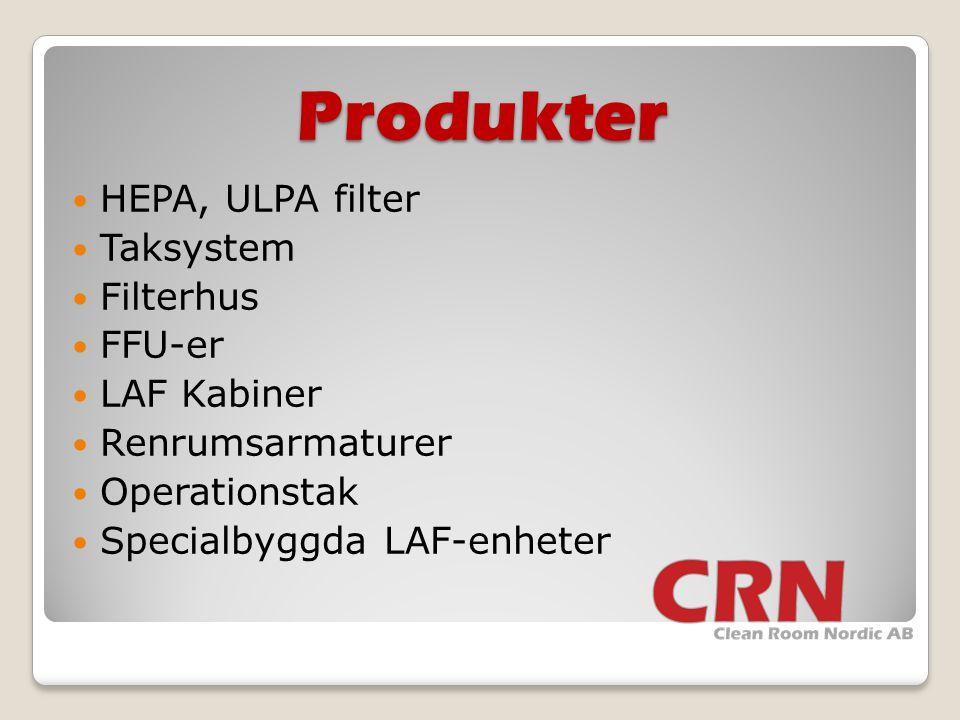 Produkter HEPA, ULPA filter Taksystem Filterhus FFU-er LAF Kabiner
