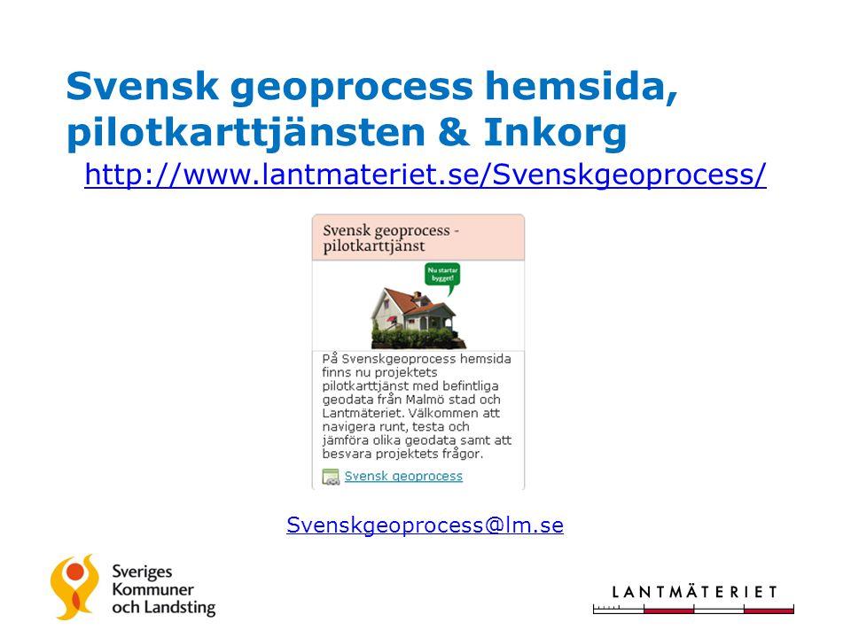 Svensk geoprocess hemsida, pilotkarttjänsten & Inkorg