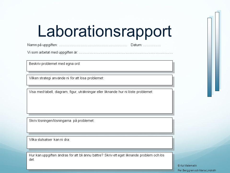 Laborationsrapport Namn på uppgiften: …………………………………………………. Datum: …………… Vi som arbetat med uppgiften är: …………………………………..…………………………………