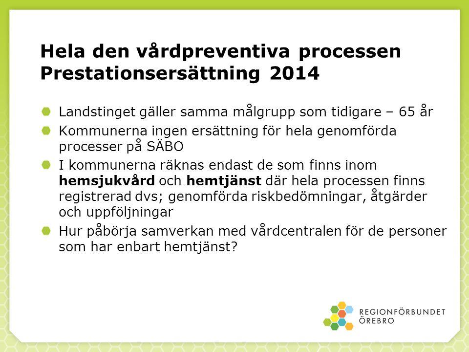 Hela den vårdpreventiva processen Prestationsersättning 2014