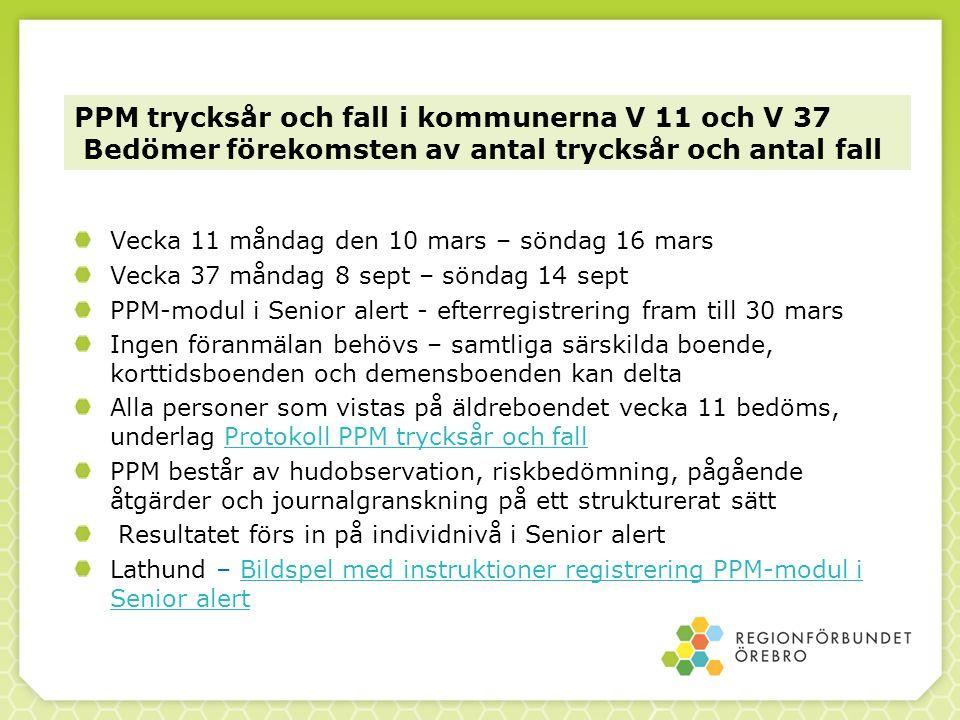 PPM trycksår och fall i kommunerna V 11 och V 37 Bedömer förekomsten av antal trycksår och antal fall