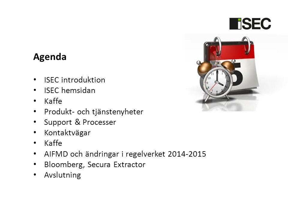 Agenda ISEC introduktion ISEC hemsidan Kaffe