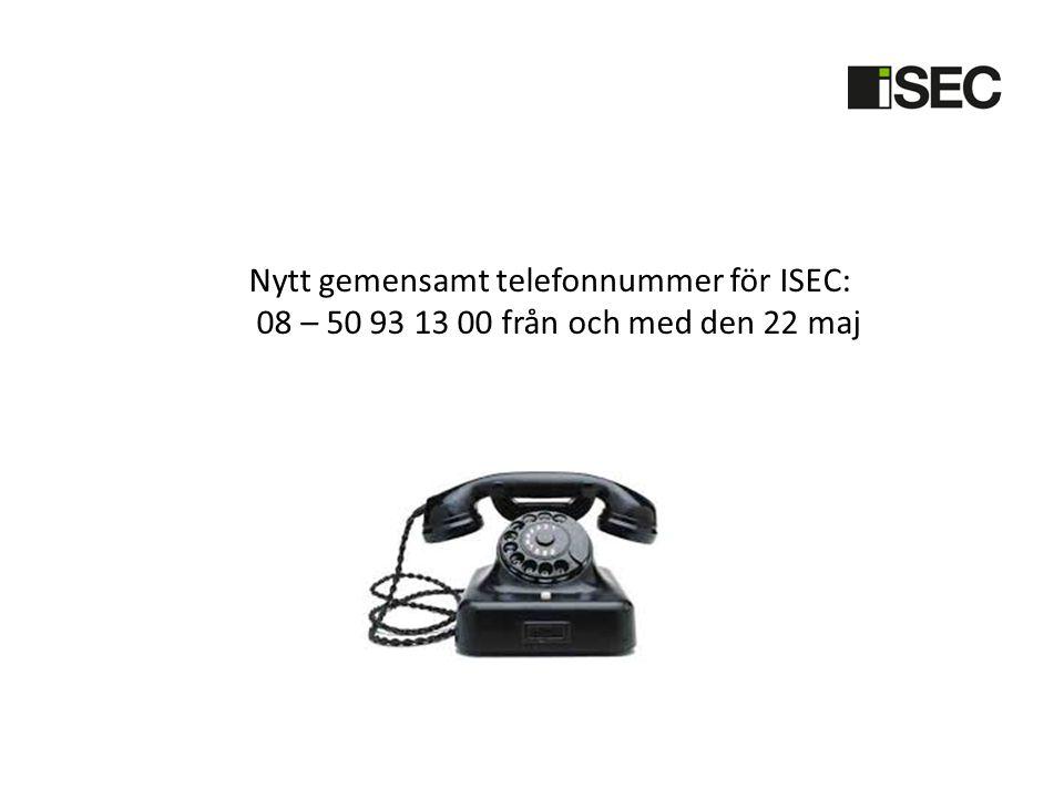 Nytt gemensamt telefonnummer för ISEC:
