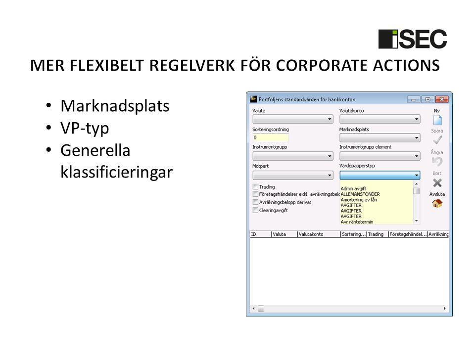 Mer Flexibelt regelverk för corporate actions